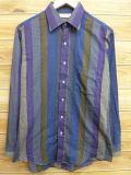M★古着 長袖 シャツ 80年代 USA製 紺他 ネイビー ストライプ 18mar07 中古 メンズ トップス