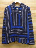 L★古着 メキシカン パーカー メキシコ製 青他 ブルー ストライプ 18mar22 中古 メンズ トップス