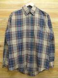 L★古着 長袖 シャツ 80年代 薄茶系 ブラウン チェック 18aug08 中古 メンズ トップス