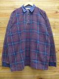 XL★古着 長袖 トップス 襟デニム 大きいサイズ USA製 紫他 パープル チェック 18oct17 中古 メンズ