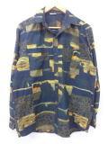 L★古着 長袖 シャツ 80年代 オープンカラー 黒他 ブラック 19mar13 中古 メンズ トップス