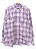 XL★古着 長袖 シャツ 80年代 GANT ベージュ カーキ チェック 19mar13 中古 メンズ トップス
