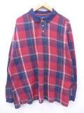 XL★古着 長袖 ポロ シャツ 90年代 大きいサイズ 赤 レッド チェック 19mar13 中古 メンズ トップス