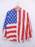 M★古着 長袖 シャツ 80年代 星条旗 USA製 赤他 レッド 【spe】 19mar15 中古 メンズ トップス
