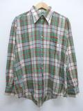 XL★古着 長袖 シャツ 80年代 Kマート 緑他 グリーン マドラス チェック 19apr01 中古 メンズ トップス