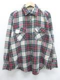 XL★古着 長袖 シャツ 90年代 大きいサイズ 赤他 レッド タータン チェック 19apr01 中古 メンズ トップス