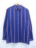 L★古着 長袖 シャツ 90年代 アロー 紺他 ネイビー ストライプ 19oct07 中古 メンズ トップス