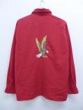 L★古着 長袖 シャツ ワシ 刺繍 ラインストーン 赤 レッド 19oct07 中古 メンズ トップス