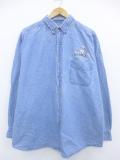 XL★古着 長袖 シャツ ハミルトン ロング丈 大きいサイズ コットン ボタンダウン デニム 19oct11 中古 メンズ トップス