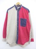 XL★古着 長袖 シャツ マルチカラー クレイジーパターン ロング丈 大きいサイズ コットン ボタンダウン 赤他 レッド 19oct11 中古 メンズ トップス