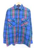 L★古着 長袖 シャツ 90年代 青他 ブルー タータン チェック 19oct11 中古 メンズ トップス