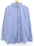 XL★古着 長袖 シャツ 大きいサイズ コットン ボタンダウン 青他 ブルー ストライプ 19oct11 中古 メンズ トップス