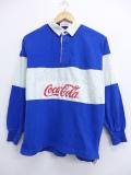 M★古着 長袖 ラガー シャツ 90年代 コカコーラ 青 ブルー 19oct16 中古 メンズ トップス