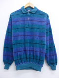 L★古着 長袖 ベロア トップス 80年代 USA製 青緑 19oct17 中古 メンズ