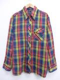 XL★古着 長袖 シャツ 70年代 JCペニー 大きいサイズ 赤他 レッド オーバー チェック 19oct17 中古 メンズ トップス