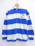 M★古着 長袖 ラガー シャツ 90年代 ウイングフット USA製 青 ブルー ボーダー 19oct17 中古 メンズ トップス