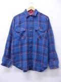 M★古着 長袖 シャツ 80年代 アロー 薄紺 ネイビー オーバー チェック 19oct30 中古 メンズ トップス
