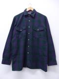 L★古着 長袖 シャツ 80年代 バンヒューセン 紫 パープル オーバー チェック 19oct30 中古 メンズ トップス