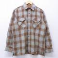 L★古着 長袖 シャツ 90年代 90s 茶他 ブラウン オーバー チェック 20mar02 中古 メンズ トップス