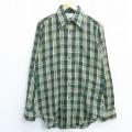 M★古着 長袖 シャツ 70年代 70s アロー 緑他 グリーン チェック 20mar05 中古 メンズ トップス