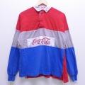 XL★古着 長袖 ラガー シャツ 90年代 90s コカコーラ マルチカラー コットン 赤他 レッド 20mar26 中古 メンズ トップス