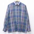 XL★古着 長袖 シャツ 80年代 80s アロー 薄紺系他 ネイビー オーバー チェック 20apr01 中古 メンズ トップス