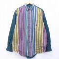 XL★古着 長袖 シャツ 90年代 90s ビューグルボーイ ワンポイントロゴ 大きいサイズ コットン 緑 グリーン ストライプ 【spe】 20apr02 中古 メンズ トップス