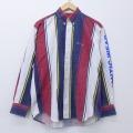 L★古着 長袖 シャツ 90年代 90s 旗 NAUTIC フランス製 赤他 レッド ストライプ 20apr02 中古 メンズ トップス