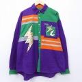 XL★古着 長袖 シャツ 90年代 90s 稲妻 スパンコール コットン 紫 パープル 【spe】 20apr02 中古 メンズ トップス