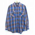 L★古着 長袖 シャツ 80年代 80s ロング丈 青 ブルー チェック 20sep03 中古 メンズ トップス