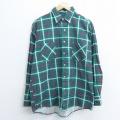 L★古着 長袖 シャツ 90年代 90s コットン USA製 緑 グリーン チェック 20sep18 中古 メンズ トップス
