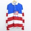 XL★古着 長袖 ラガー シャツ 90年代 90s USAロゴ 星条旗 コットン USA製 白他 ホワイト ボーダー 20nov06 中古 メンズ トップス