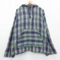 XL★古着 長袖 メキシカン パーカー 大きいサイズ メキシコ製 緑他 グリーン チェック 20nov20 中古 メンズ トップス