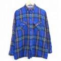 XL★古着 長袖 シャツ 90年代 90s バンヒューセン ボタンダウン 青他 ブルー チェック 20nov23 中古 メンズ トップス