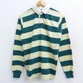 M★古着 長袖 ラガー シャツ 80年代 80s キャンパス USA製 緑他 グリーン ボーダー 21feb18 中古 メンズ トップス