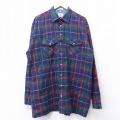 XL★古着 長袖 シャツ 90年代 90s バンヒューセン 大きいサイズ ロング丈 緑他 グリーン チェック 21mar04 中古 メンズ トップス