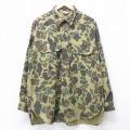 XL★古着 長袖 シャツ 90年代 90s カベラス ロング丈 USA製 緑他 グリーン 迷彩 21mar04 中古 メンズ トップス