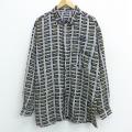 XL★古着 長袖 シャツ 総柄 大きいサイズ 紺他 ネイビー 21apr16 中古 メンズ トップス