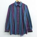 XL★古着 長袖 シャツ 90年代 90s バンヒューセン 大きいサイズ コットン 紫他 パープル ストライプ 21apr16 中古 メンズ トップス