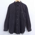 XL★古着 長袖 シャツ 総柄 大きいサイズ コーデュロイ ボタンダウン 黒 ブラック 21apr16 中古 メンズ トップス