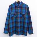 XL★古着 長袖 シャツ 80年代 80s バンヒューセン 青他 ブルー チェック 21may21 中古 メンズ トップス