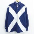 L★古着 バーバリアン 長袖 ラガー シャツ メンズ 90年代 90s スコットランド コットン ツートンカラー 紺 ネイビー 21jun16 中古 トップス