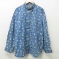 XL★古着 長袖 シャツ メンズ 大きいサイズ ボタンダウン 紺 ネイビー 21jun22 中古 トップス