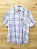 XL★古着 半袖 シャツ 70年代 リーバイス Levis 大きいサイズ 薄紺 ネイビー チェック 【spe】 18mar19 中古 メンズ トップス