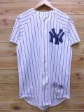 S★古着 半袖 ベースボール シャツ MLB ニューヨークヤンキース ジョバチェンバレン USA製 白 ホワイト ストライプ 【spe】 メジャーリーグ 野球 18apr03 中古 メンズ トップス