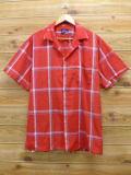 XL★古着 半袖 シャツ 70年代 バンヒューセン USA製 赤 レッド チェック 18apr02 中古 メンズ トップス