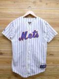 S★古着 半袖 ベースボール シャツ MLB ニューヨークメッツ ヨハンサンタナ USA製 白 ホワイト 18apr26 中古 メンズ トップス