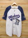 XL★古着 半袖 ベースボール シャツ ディズニー DISNEY ミッキー MICKEY MOUSE 大きいサイズ 薄べ−ジュ 【spe】 18may22 中古 メンズ トップス