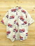 XL★古着 半袖 シャツ ピューリタン 車 ヤシの木 ベージュ カーキ 18may22 中古 メンズ トップス
