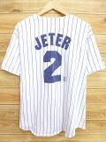 XL★古着 半袖 ベースボール シャツ 90年代 MLB ニューヨークヤンキース デレクジーター USA製 白 ホワイト ストライプ 【spe】 ユニフォーム メジャーリーグ 18may22 中古 メンズ トップス